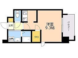ALFACIO DIFOND 12階ワンルームの間取り