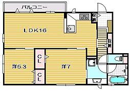 大阪府茨木市玉島台の賃貸アパートの間取り