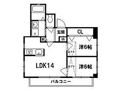 CASA SHIMEI[4階]の間取り