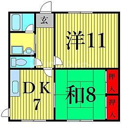 阿部南葛西第1マンション 1階2LDKの間取り