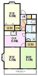 JR中央線 国立駅 徒歩16分の賃貸マンション 2階3DKの間取り