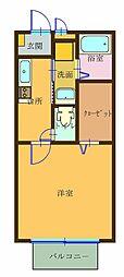 パルハイム ヒライ A[1階]の間取り