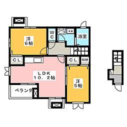 静岡県浜松市中区高丘北4の賃貸アパートの間取り