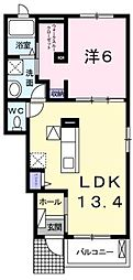 香川県高松市仏生山町甲の賃貸アパートの間取り