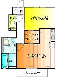 近鉄南大阪線 高鷲駅 徒歩22分の賃貸アパート 1階1LDKの間取り