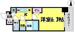 エスリード京橋グランツ 7階1Kの間取り