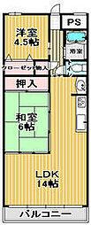 パレス竹ヶ城[6階]の間取り
