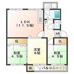 狩口台住宅39号棟[4階]の間取り