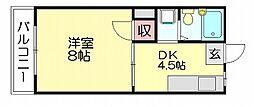 福岡県福岡市博多区空港前3丁目の賃貸アパートの間取り
