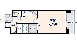 Shining布施離宮 8階1Kの間取り