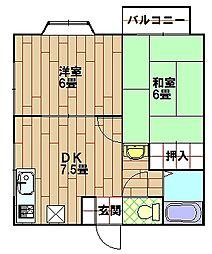 久比里パールハイツ[2階]の間取り