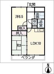 ハイツアミュー[2階]の間取り
