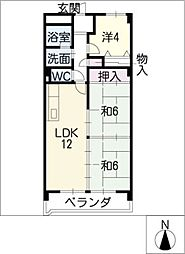 岩倉グリーンハイツDx[3階]の間取り