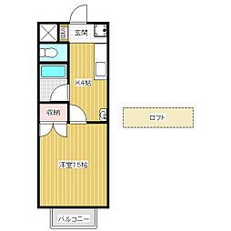 ハイツAlba B[1階]の間取り