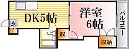 レジデンス西蟹屋[602号室]の間取り