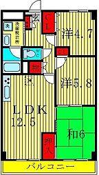 埼玉県三郷市早稲田2丁目の賃貸マンションの間取り