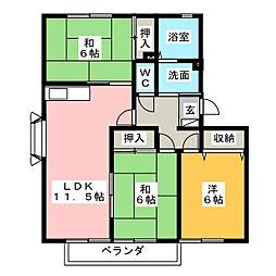 ハートホーム山本 B棟[3階]の間取り