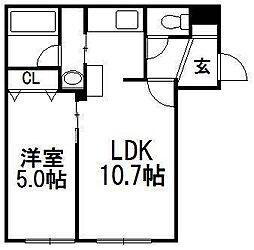北海道札幌市白石区東札幌二条4丁目の賃貸マンションの間取り