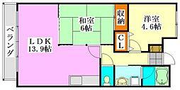 千葉県船橋市山手2丁目の賃貸マンションの間取り