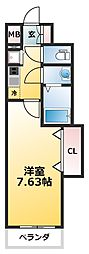 Luxe新大阪SOUTH 3階1Kの間取り