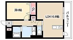 ディアコートK VII 1階1LDKの間取り