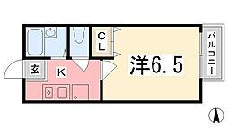 兵庫県姫路市大津区恵美酒町2丁目の賃貸アパートの間取り