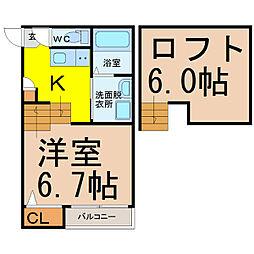 愛知県名古屋市昭和区広路通6丁目の賃貸アパートの間取り