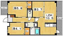 プラリア黄金野[1階]の間取り