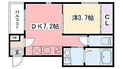 阪神本線 甲子園駅 徒歩8分の賃貸アパート 3階1DKの間取り