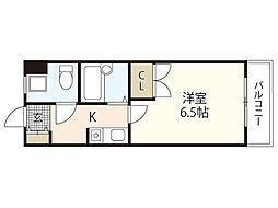 JR山陽本線 中野東駅 徒歩10分の賃貸マンション 2階1Kの間取り
