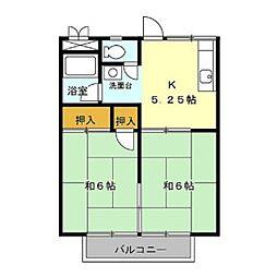 コーポ加茂川[南201号室]の間取り