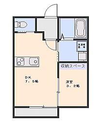 埼玉県さいたま市中央区上落合8丁目の賃貸アパートの間取り