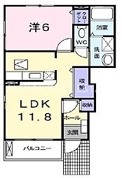 サニースクエアB[1階]の間取り