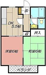 ビーラインK Ⅱ[202号室]の間取り