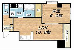 大阪府大阪市中央区東平2丁目の賃貸マンションの間取り