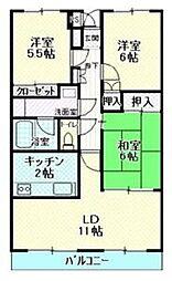 広島県東広島市西条昭和町の賃貸マンションの間取り