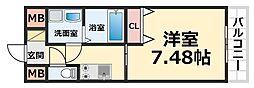 CROUD尼崎 9階1Kの間取り