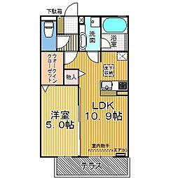 愛知県名古屋市中川区横井2丁目の賃貸アパートの間取り