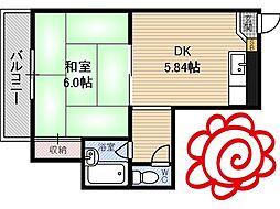 JR片町線(学研都市線) 徳庵駅 徒歩5分の賃貸マンション 1階1DKの間取り