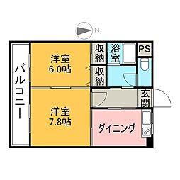 サンヒーローマンション別府駅前 3階2DKの間取り