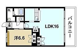 セレゾII 3階1LDKの間取り