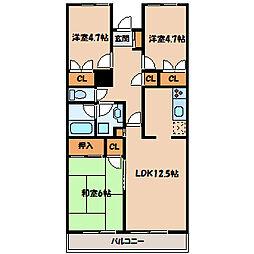 神奈川県相模原市南区若松2丁目の賃貸マンションの間取り