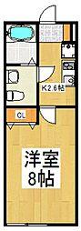 ウィンヒル下藤沢 3階1Kの間取り