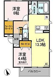 D-room若久[2階]の間取り