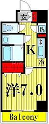サンアイガーデン見沼代親水公園 2階1Kの間取り