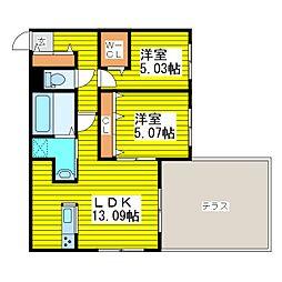 札幌市営東豊線 東区役所前駅 徒歩12分の賃貸マンション 1階2LDKの間取り