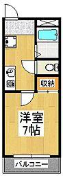 京都府京都市伏見区深草西浦町3丁目の賃貸アパートの間取り