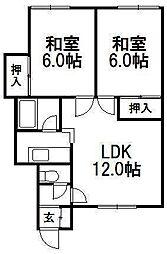 北海道札幌市西区宮の沢一条4丁目の賃貸アパートの間取り