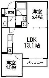 北海道札幌市西区発寒一条3丁目の賃貸マンションの間取り
