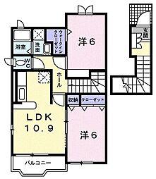 東京都青梅市畑中2丁目の賃貸アパートの間取り
